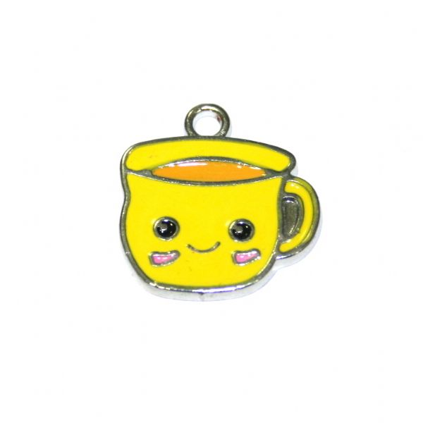 1pce 16*14mm Rhodium plated yellow cuppa / cup of tea enamel charm - S.D03 - CHE1162